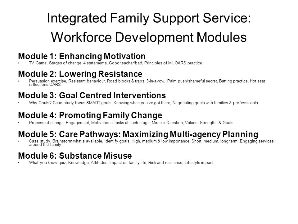 Integrated Family Support Service: Workforce Development Modules Module 1: Enhancing Motivation TV Game, Stages of change, 4 statements, Good teacher/