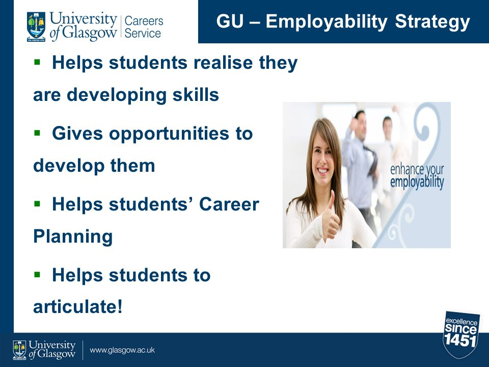 Helps students realise they are developing skills Gives opportunities to develop them Helps students Career Planning Helps students to articulate! GU