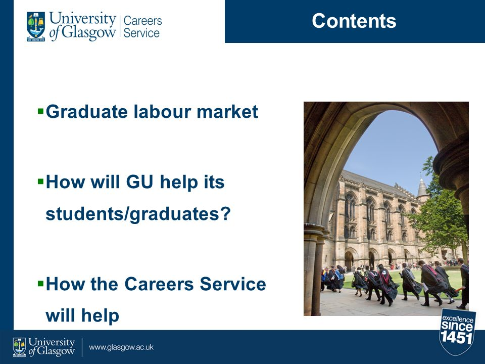 YearEntered Employment Further Study Employment & Study Not Availabl e Seeking Employme nt 20066024664 20075924764 20086320674 20095923468 20105827366 20116322825 Glasgow Graduates 2006 – 2011 (%)