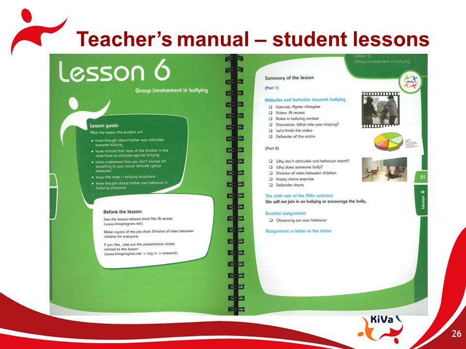 26 Teachers manual – student lessons