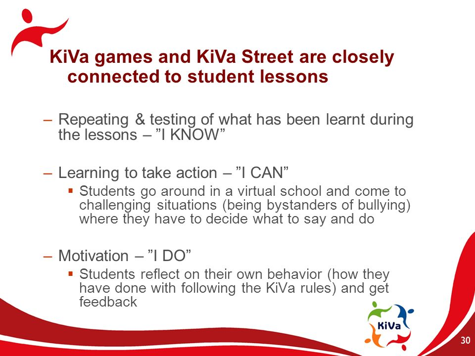30 –Repeating & testing of what has been learnt during the lessons – I KNOW –Learning to take action – I CAN Students go around in a virtual school an