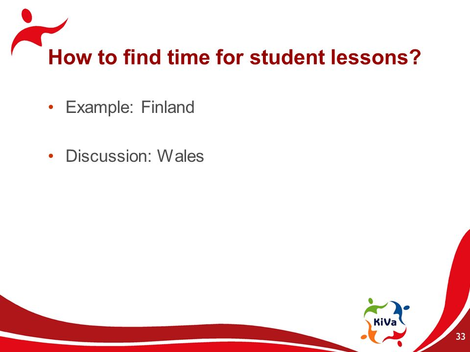 How to find time for student lessons? Example: Finland Discussion: Wales 33