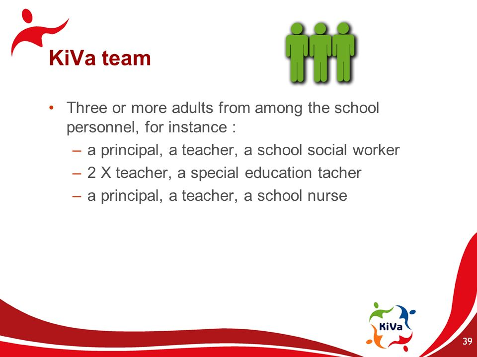 39 KiVa team Three or more adults from among the school personnel, for instance : –a principal, a teacher, a school social worker –2 X teacher, a spec