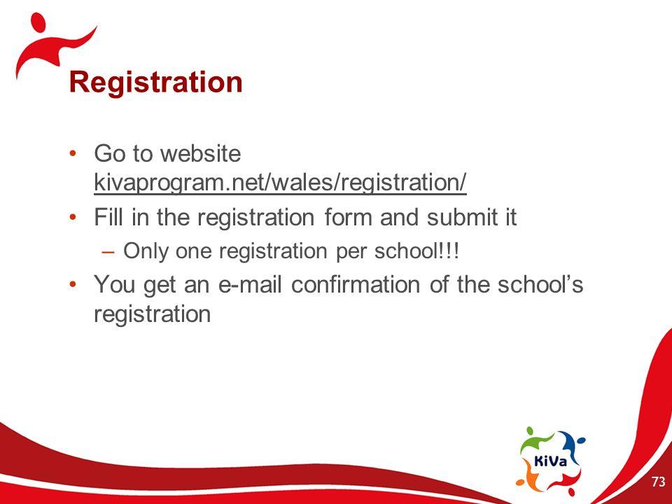 Registration Go to website kivaprogram.net/wales/registration/ Fill in the registration form and submit it –Only one registration per school!!! You ge