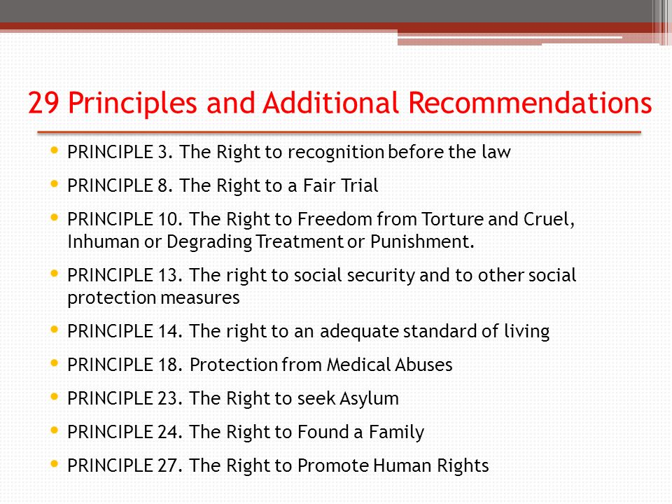 29 Principles and Additional Recommendations PRINCIPLE 3.