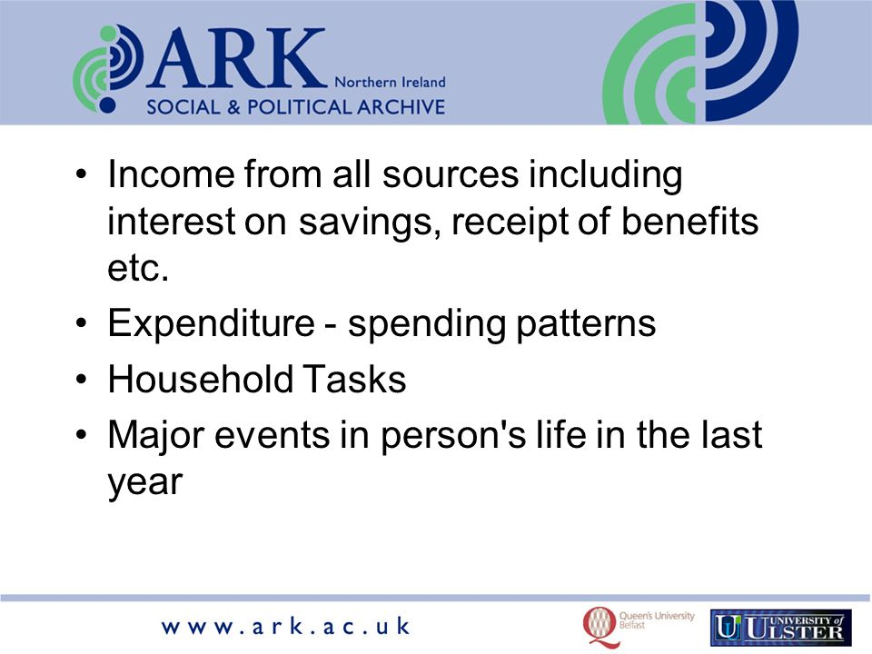Income from all sources including interest on savings, receipt of benefits etc.