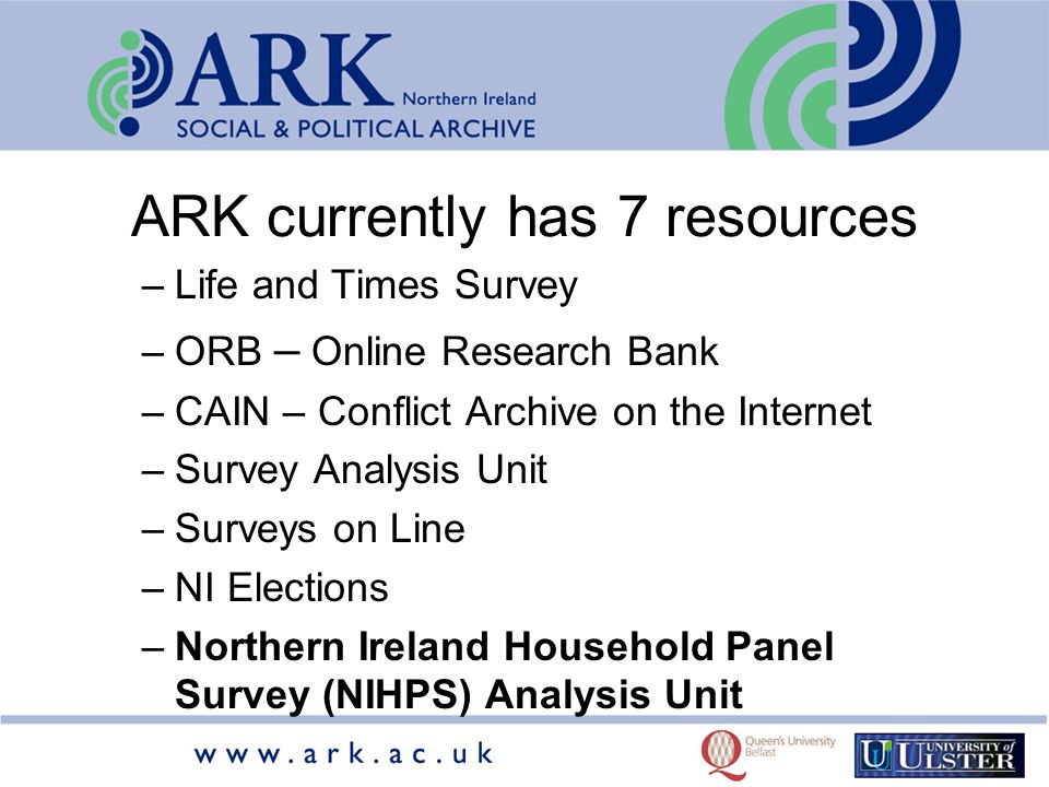 ARK currently has 7 resources –Life and Times Survey –ORB – Online Research Bank –CAIN – Conflict Archive on the Internet –Survey Analysis Unit –Surveys on Line –NI Elections –Northern Ireland Household Panel Survey (NIHPS) Analysis Unit
