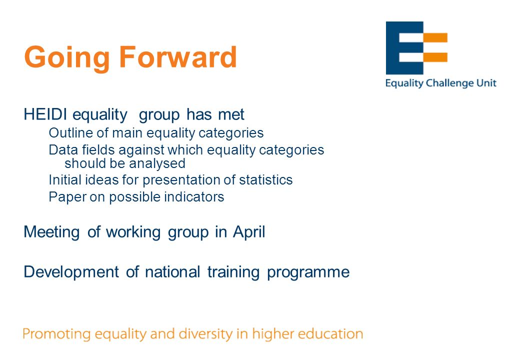 Going Forward HEIDI equality group has met Outline of main equality categories Data fields against which equality categories should be analysed Initia