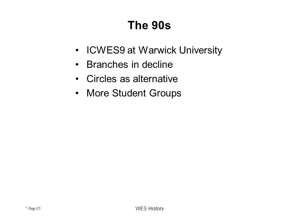 7-Sep-05 WES History The 90s ICWES9 at Warwick University Branches in decline Circles as alternative More Student Groups