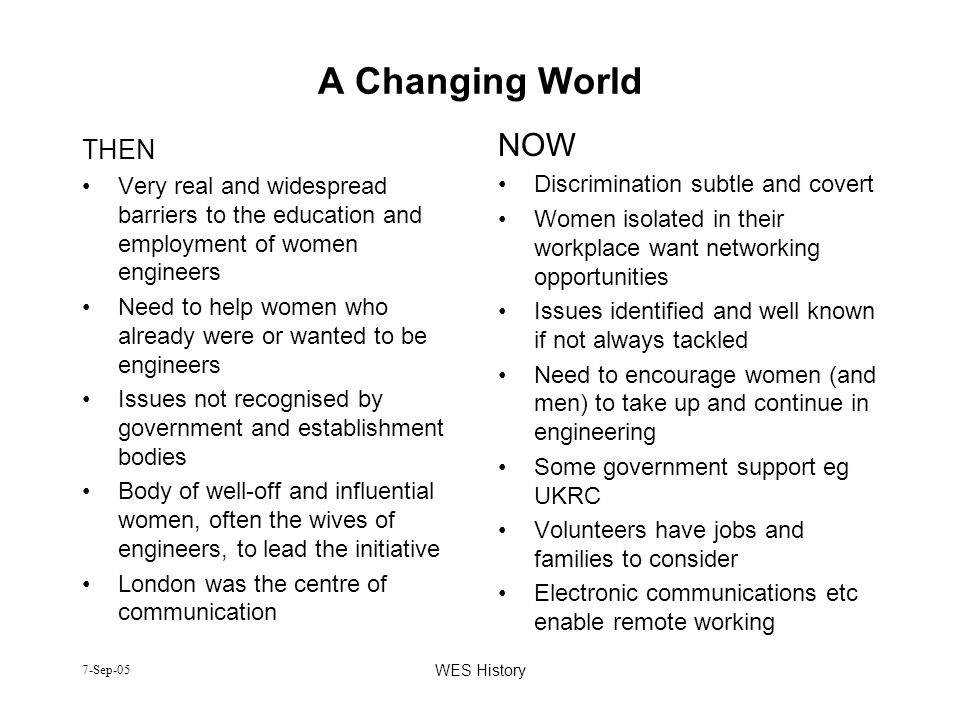7-Sep-05 WES History A Changing World THEN Very real and widespread barriers to the education and employment of women engineers Need to help women who