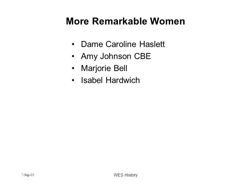 7-Sep-05 WES History More Remarkable Women Dame Caroline Haslett Amy Johnson CBE Marjorie Bell Isabel Hardwich