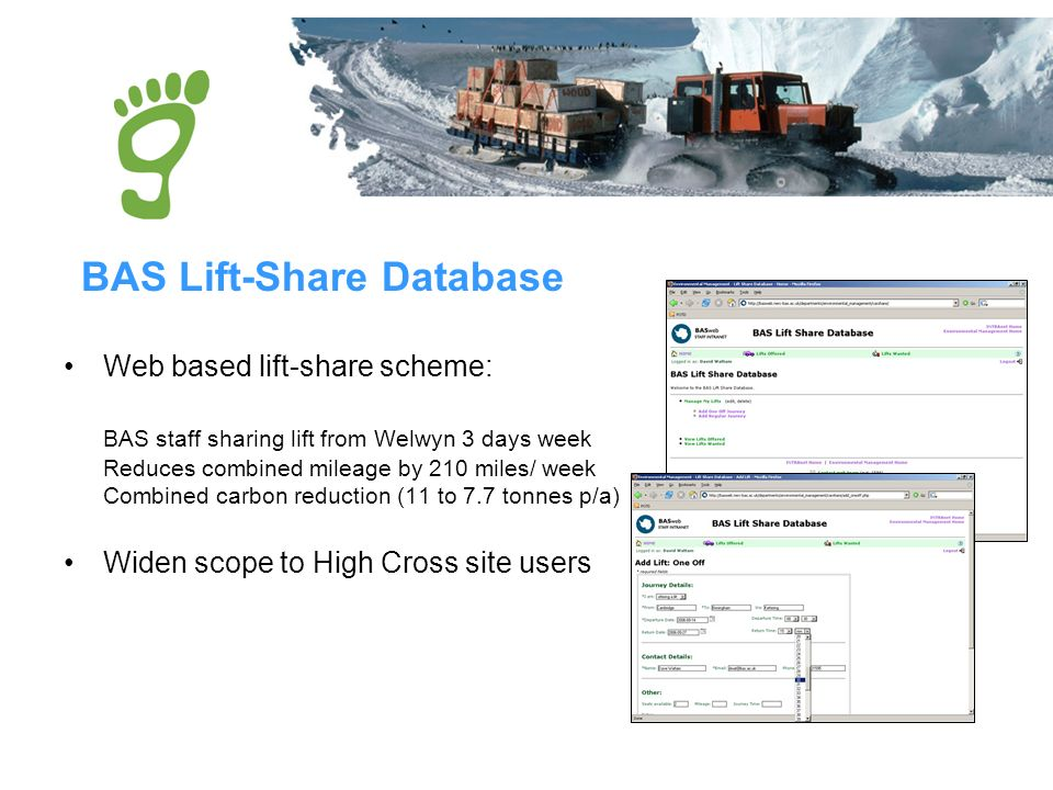 Web based lift-share scheme: BAS staff sharing lift from Welwyn 3 days week Reduces combined mileage by 210 miles/ week Combined carbon reduction (11