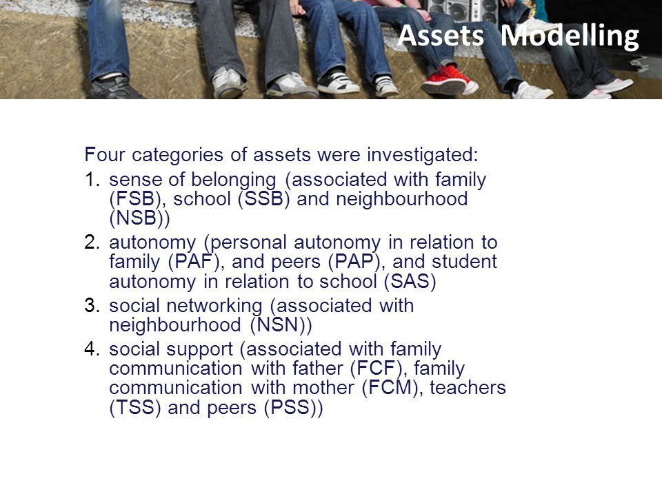 Assets Four categories of assets were investigated: 1.sense of belonging (associated with family (FSB), school (SSB) and neighbourhood (NSB)) 2.autono