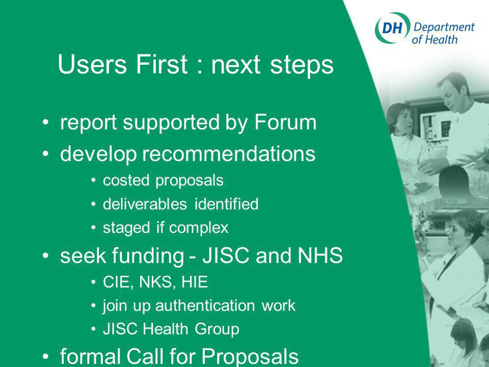 Users First : next steps report supported by Forum develop recommendations costed proposals deliverables identified staged if complex seek funding - JISC and NHS CIE, NKS, HIE join up authentication work JISC Health Group formal Call for Proposals