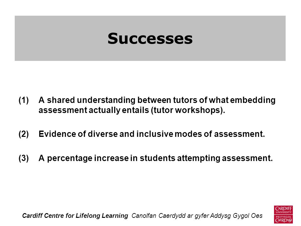 (1)A shared understanding between tutors of what embedding assessment actually entails (tutor workshops). (2)Evidence of diverse and inclusive modes o