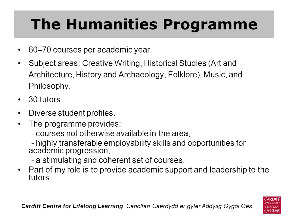 60–70 courses per academic year. Subject areas: Creative Writing, Historical Studies (Art and Architecture, History and Archaeology, Folklore), Music,