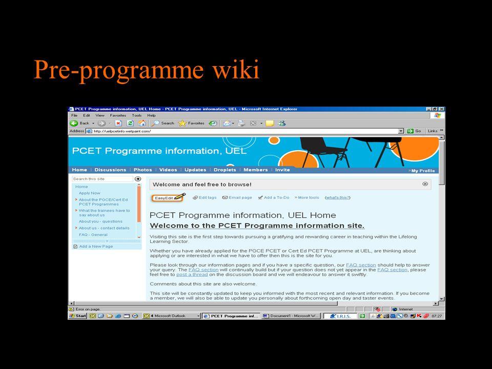 Pre-programme wiki
