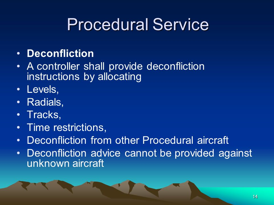 14 Procedural Service Procedural Service Deconfliction A controller shall provide deconfliction instructions by allocating Levels, Radials, Tracks, Ti