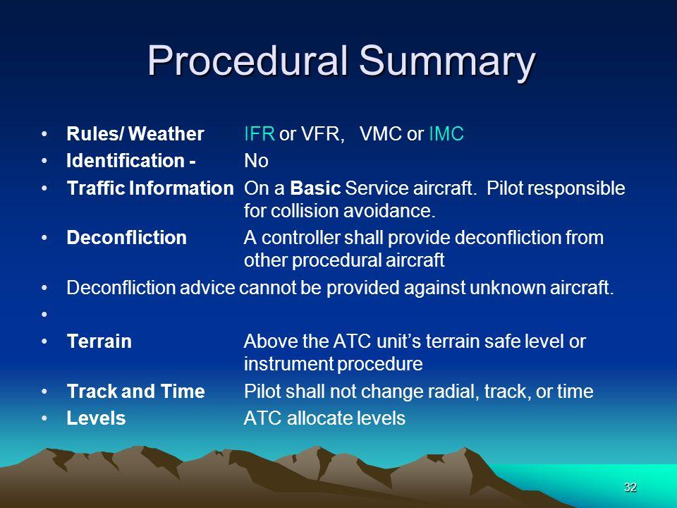 32 Procedural Summary Procedural Summary Rules/ WeatherIFR or VFR, VMC or IMC Identification - No Traffic InformationOn a Basic Service aircraft. Pilo