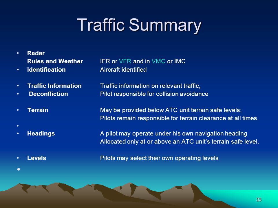 33 Traffic Summary Radar Rules and WeatherIFR or VFR and in VMC or IMC IdentificationAircraft identified Traffic InformationTraffic information on rel