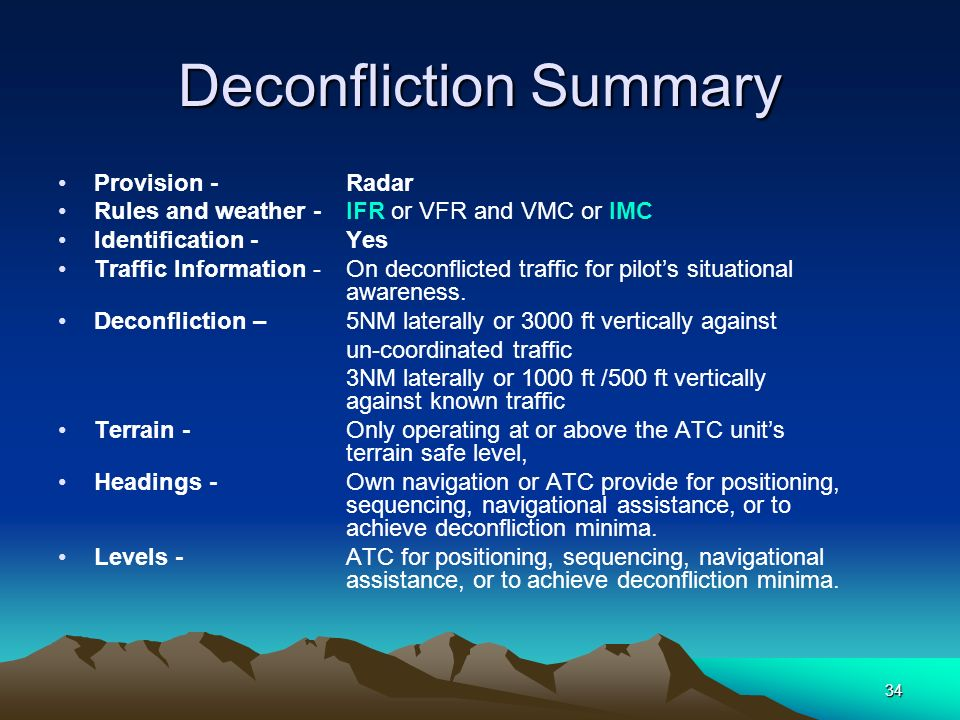 34 Deconfliction Summary Provision - Radar Rules and weather - IFR or VFR and VMC or IMC Identification - Yes Traffic Information - On deconflicted tr