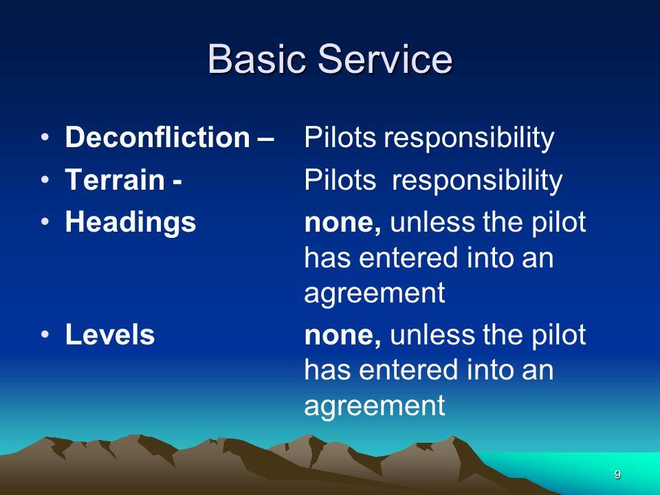 9 Basic Service Deconfliction – Pilots responsibility Terrain - Pilots responsibility Headingsnone, unless the pilot has entered into an agreement Lev