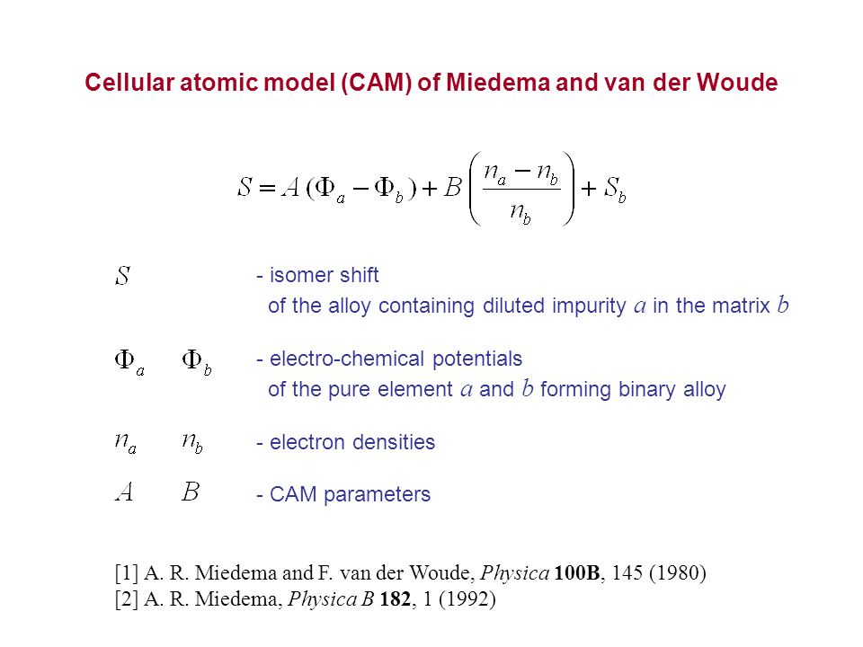 Cellular atomic model (CAM) of Miedema and van der Woude - isomer shift of the alloy containing diluted impurity a in the matrix b - electro-chemical