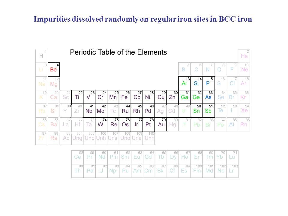 Impurities dissolved randomly on regular iron sites in BCC iron