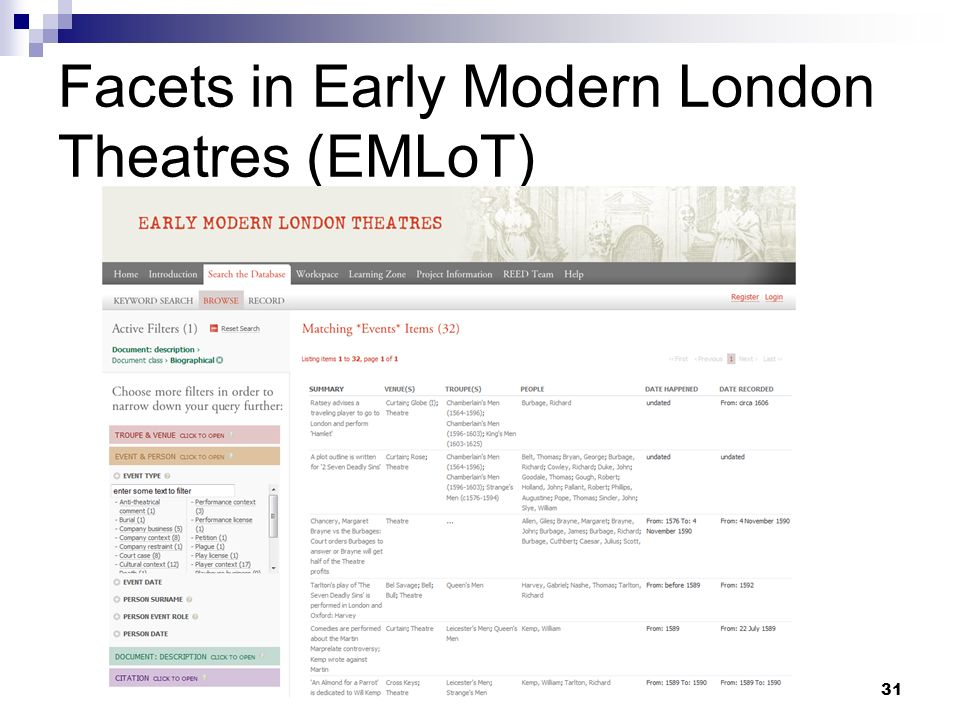 Facets in Early Modern London Theatres (EMLoT) 31