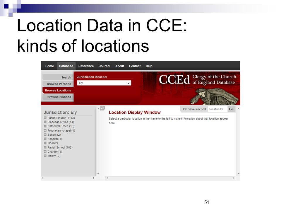 Location Data in CCE: kinds of locations 51