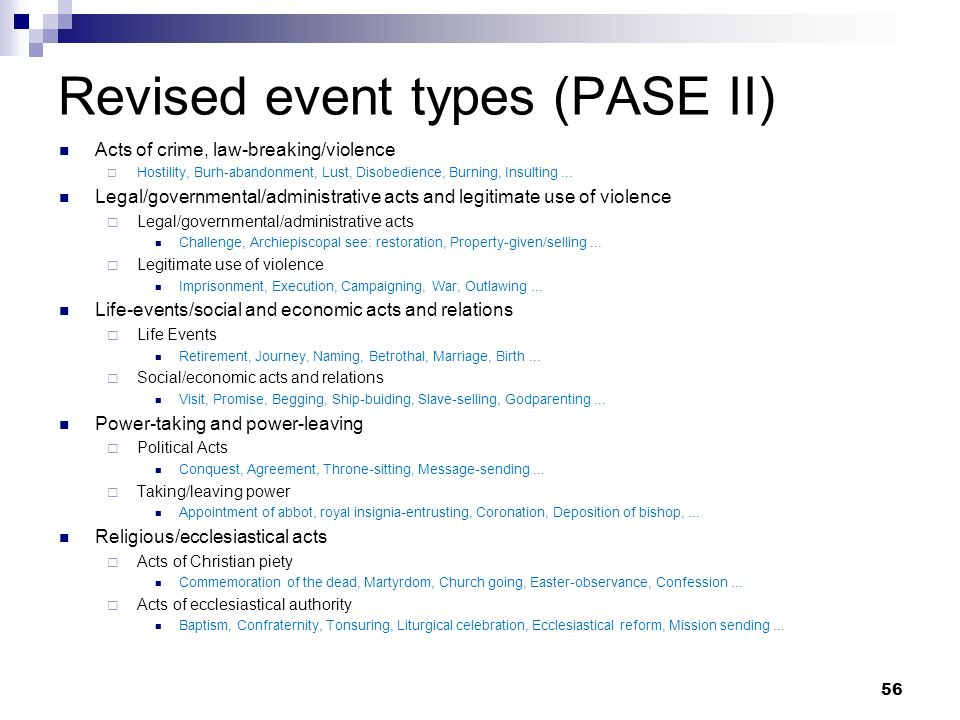 Revised event types (PASE II) Acts of crime, law-breaking/violence Hostility, Burh-abandonment, Lust, Disobedience, Burning, Insulting... Legal/govern