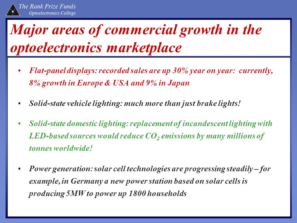 Major areas of commercial growth in the optoelectronics marketplace Flat-panel displays: recorded sales are up 30% year on year: currently, 8% growth