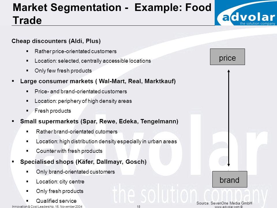 Innovation & Cost Leadership, 15. November 2004 www.advolar.com © 18 Market Segmentation - Example: Food Trade Cheap discounters (Aldi, Plus) Rather p