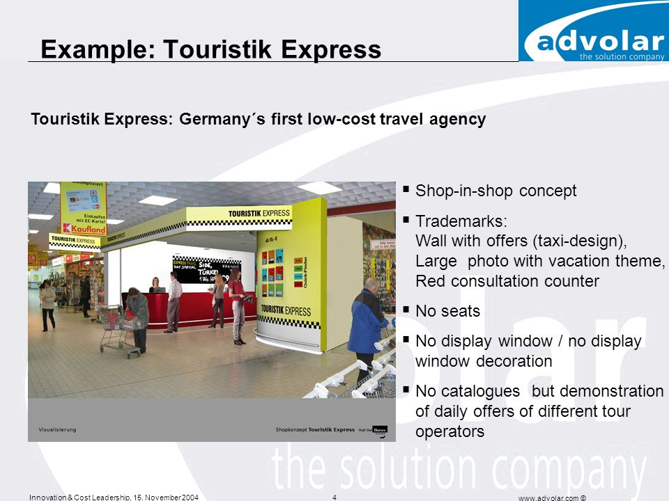 Innovation & Cost Leadership, 15. November 2004 www.advolar.com © 4 Example: Touristik Express Shop-in-shop concept Trademarks: Wall with offers (taxi