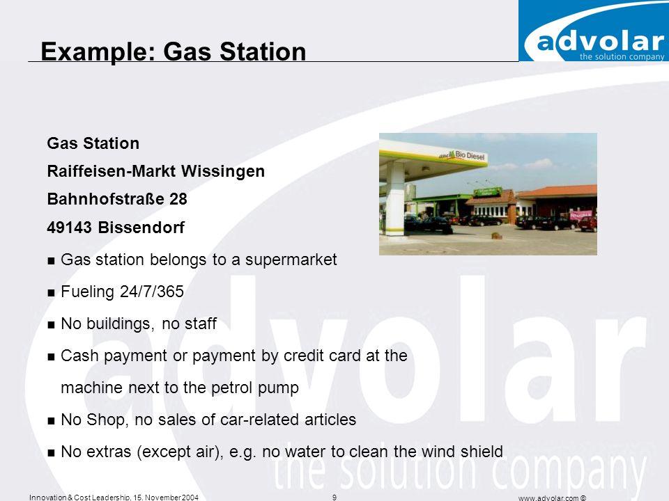 Innovation & Cost Leadership, 15. November 2004 www.advolar.com © 9 Example: Gas Station Gas Station Raiffeisen-Markt Wissingen Bahnhofstraße 28 49143