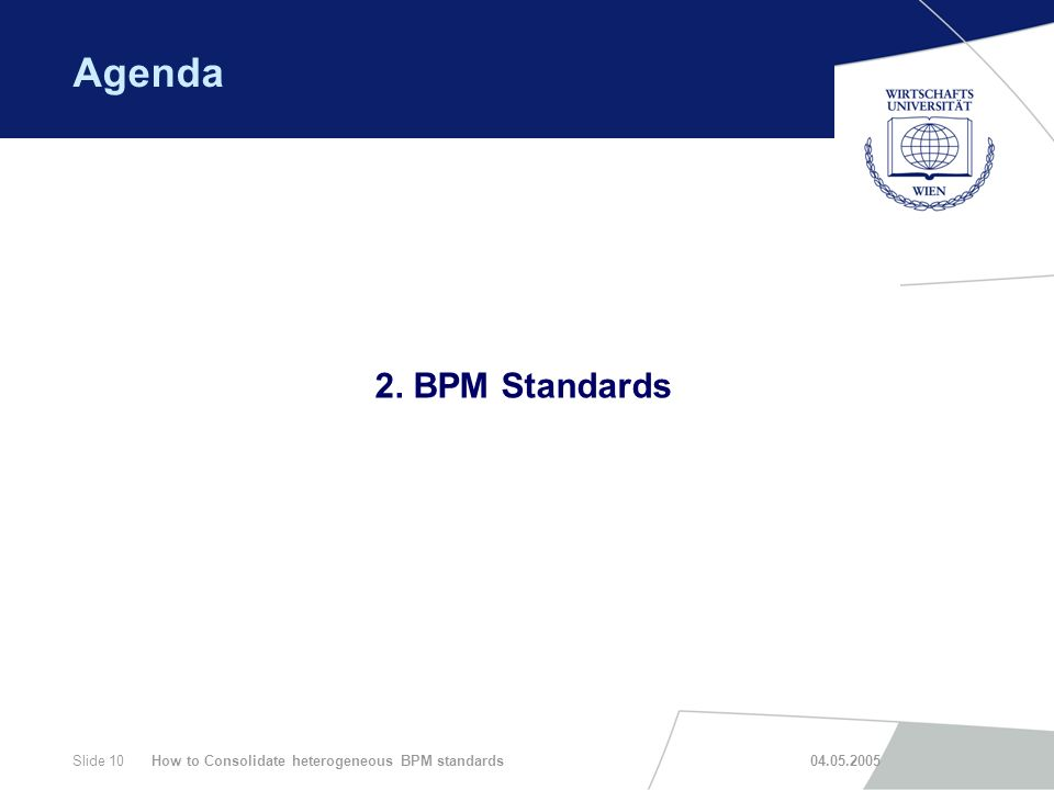How to Consolidate heterogeneous BPM standards 04.05.2005Slide 10 Agenda 2. BPM Standards