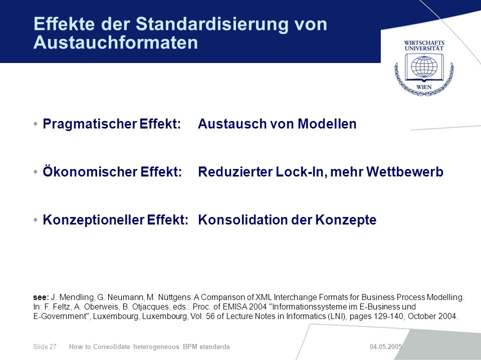 How to Consolidate heterogeneous BPM standards 04.05.2005Slide 27 Effekte der Standardisierung von Austauchformaten Pragmatischer Effekt: Austausch vo