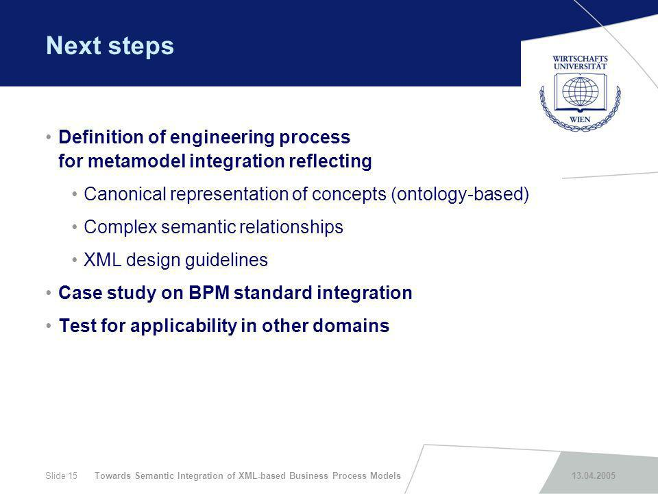 Towards Semantic Integration of XML-based Business Process Models 13.04.2005Slide 15 Next steps Definition of engineering process for metamodel integr