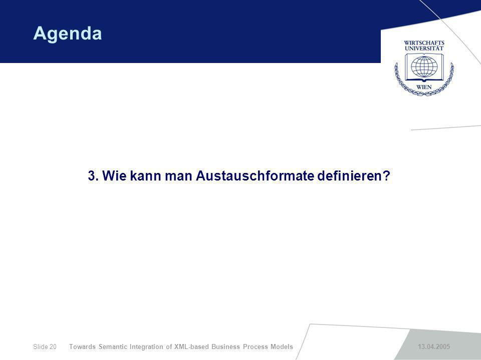 Towards Semantic Integration of XML-based Business Process Models 13.04.2005Slide 20 Agenda 3. Wie kann man Austauschformate definieren?