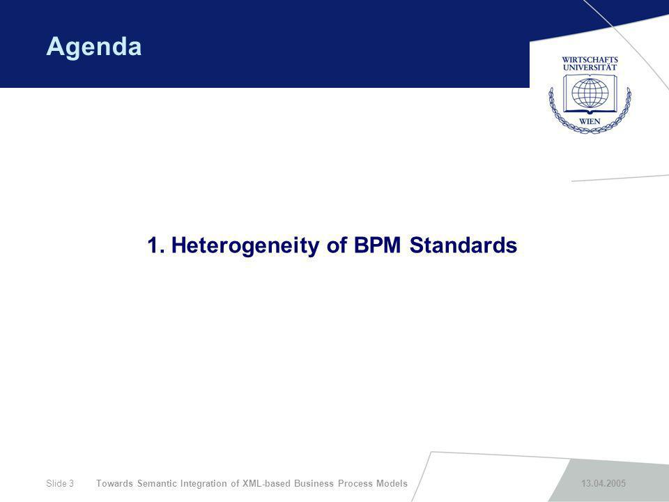 Towards Semantic Integration of XML-based Business Process Models 13.04.2005Slide 3 Agenda 1. Heterogeneity of BPM Standards