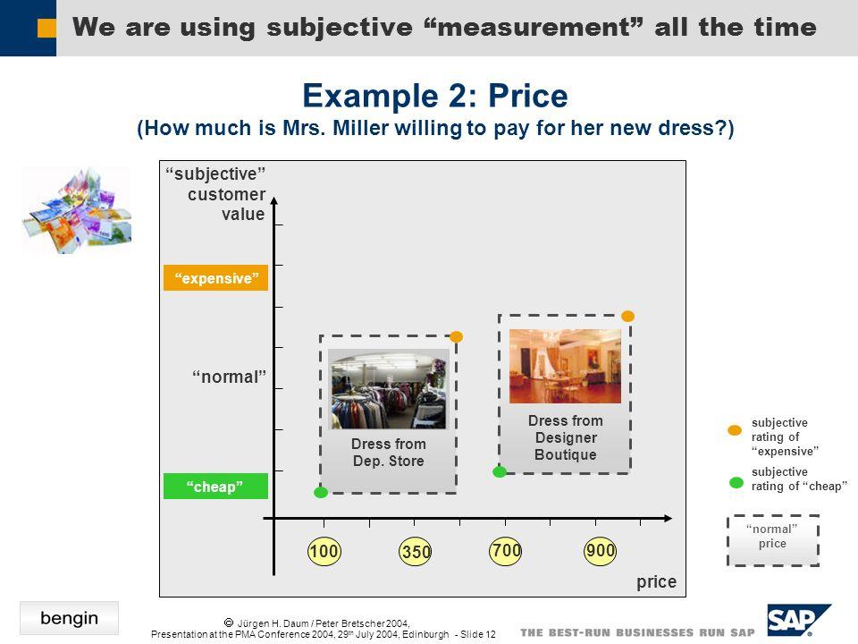 Jürgen H. Daum / Peter Bretscher 2004, Presentation at the PMA Conference 2004, 29 th July 2004, Edinburgh - Slide 12 We are using subjective measurem