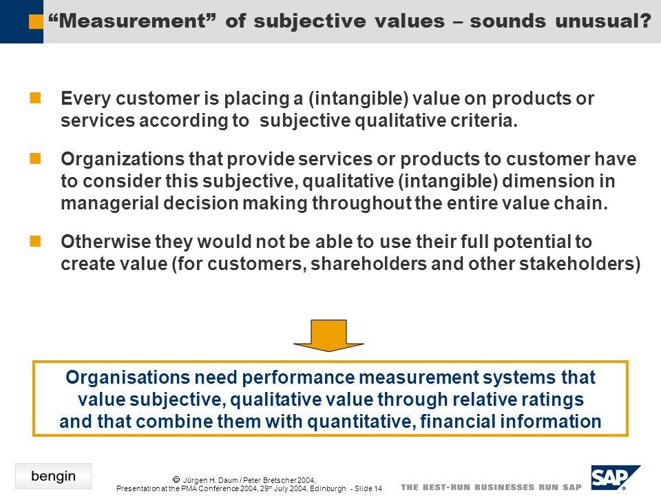 Jürgen H. Daum / Peter Bretscher 2004, Presentation at the PMA Conference 2004, 29 th July 2004, Edinburgh - Slide 14 Measurement of subjective values
