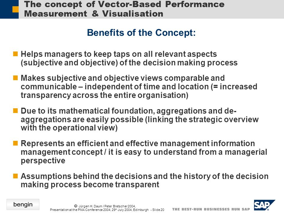 Jürgen H. Daum / Peter Bretscher 2004, Presentation at the PMA Conference 2004, 29 th July 2004, Edinburgh - Slide 20 Helps managers to keep taps on a