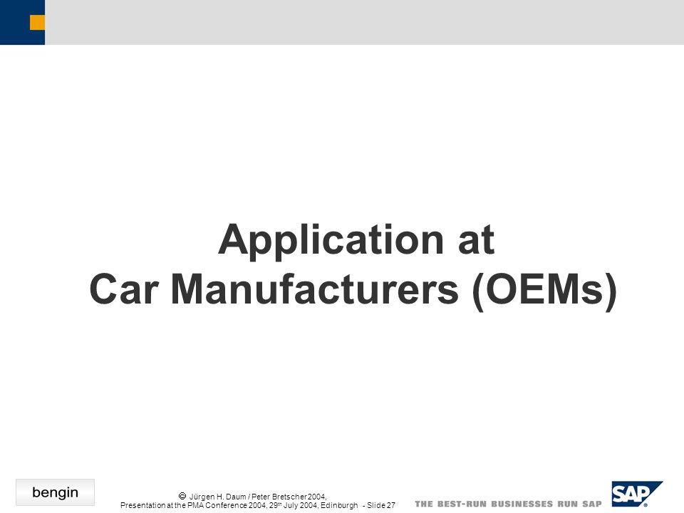 Jürgen H. Daum / Peter Bretscher 2004, Presentation at the PMA Conference 2004, 29 th July 2004, Edinburgh - Slide 27 Application at Car Manufacturers