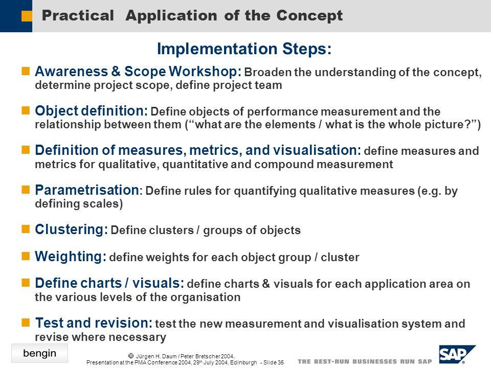Jürgen H. Daum / Peter Bretscher 2004, Presentation at the PMA Conference 2004, 29 th July 2004, Edinburgh - Slide 35 Practical Application of the Con