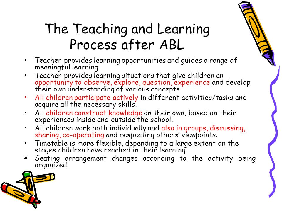 The Teaching and Learning Process after ABL Teacher provides learning opportunities and guides a range of meaningful learning. Teacher provides learni