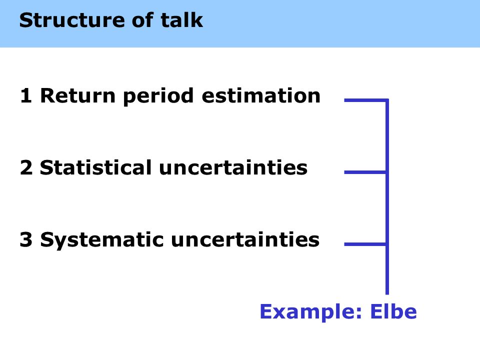 Structure of talk 1Return period estimation 2Statistical uncertainties 3 Systematic uncertainties Example: Elbe