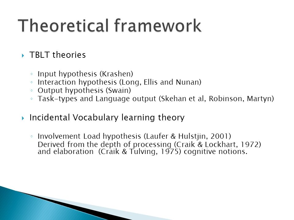 TBLT theories Input hypothesis (Krashen) Interaction hypothesis (Long, Ellis and Nunan) Output hypothesis (Swain) Task-types and Language output (Skeh