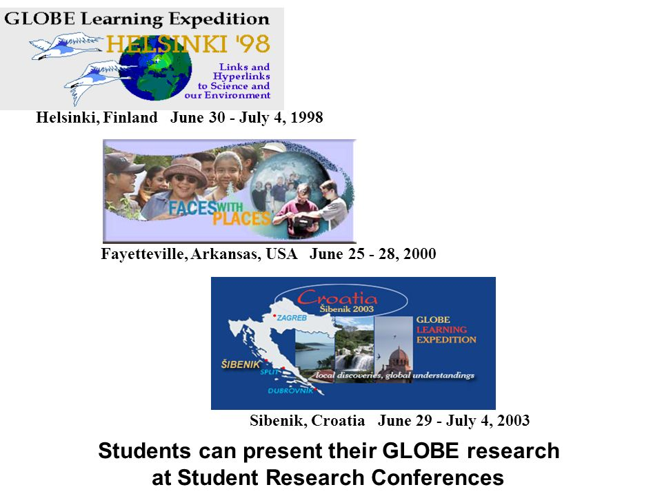 Students can present their GLOBE research at Student Research Conferences Sibenik, Croatia June 29 - July 4, 2003 Fayetteville, Arkansas, USA June 25 - 28, 2000 Helsinki, Finland June 30 - July 4, 1998