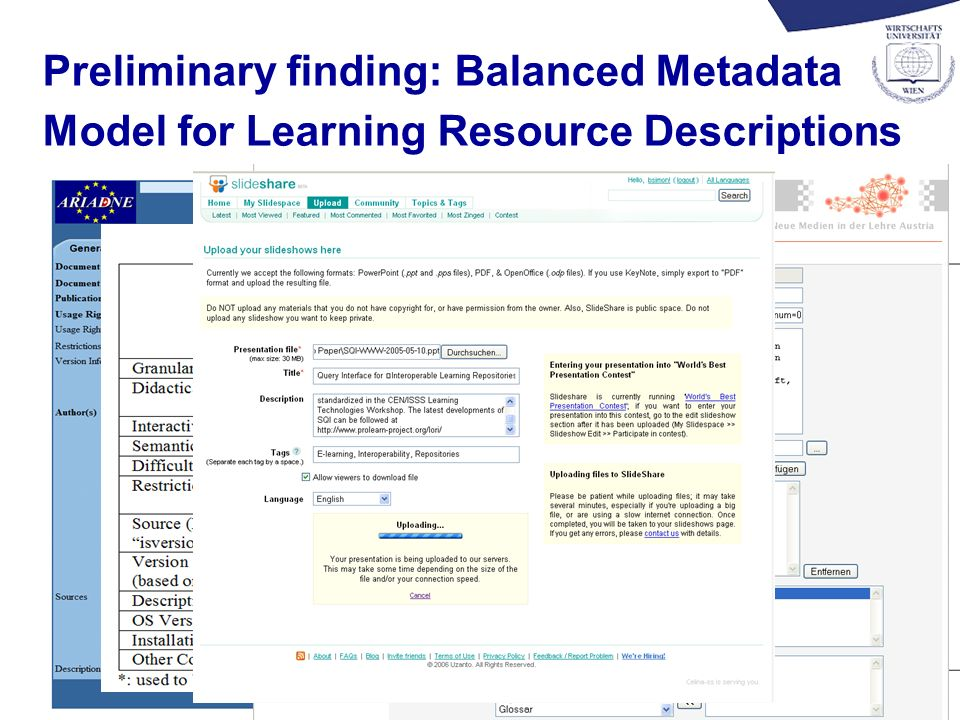 6 Preliminary finding: Balanced Metadata Model for Learning Resource Descriptions